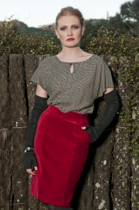 Red tight skirt and red lipstick. Photo by Anais Chaine Photography Auckland, NZ, wearing Selector clothing. Fashion photoshoot in Bethells, Waitekere range
