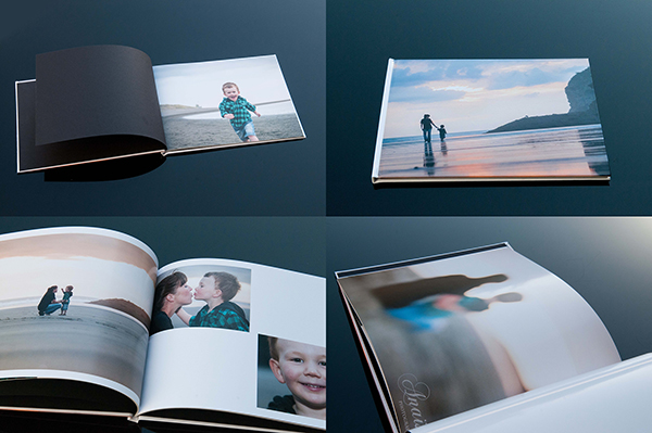Family photo book album montage on black background sample