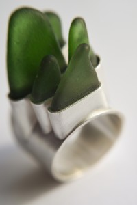 The wave, green beach glass and silver ring by Laura jeweller