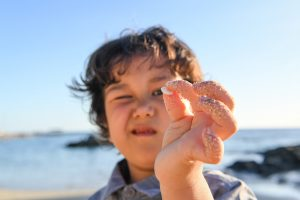Young boy picks up sea shell in Fiji