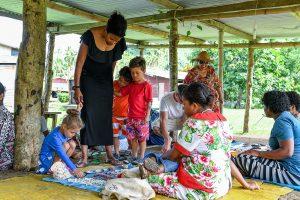 Family mingle with Fiji family during vacation
