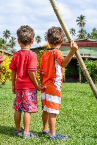 Boys stare at Fiji family vacation