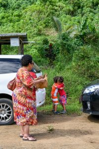 Grandma watches grandchildren hug by car
