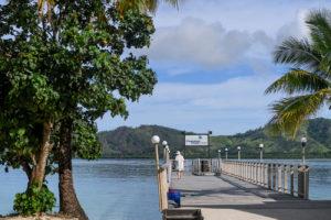 Grandma strolling on the docks of plantation Island Resort Fiji
