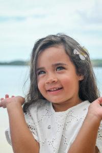 Stunning Polynesian girl with grey eyes