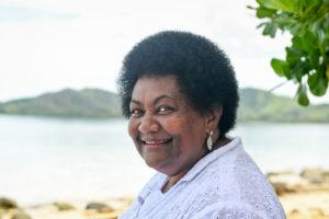 Polynesian grandma with large afro in Fiji