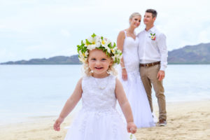 Cute baby girl in traditional Fiji flower crown