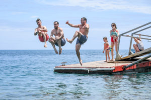 Family members are caught mid-air before landing in a huge water bomb