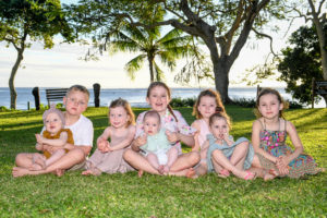Group shot of cousins together during their photoshoot in Fiji