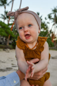Portrait of a baby on the beach in Fiji