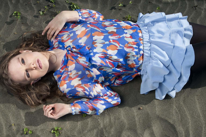 Clare from Nova model Agency, Auckland, NZ, wearing Chelsea & Hannah Morgan clothing. Fashion photoshoot in Whatipu beach, Waitekere range