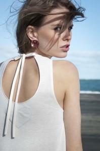 Clare from Nova model Agency, Auckland, NZ, Hannah Morgan heart cream hole n the back dress Selector clothing. Fashion photoshoot in Whatipu beach, Waitekere range