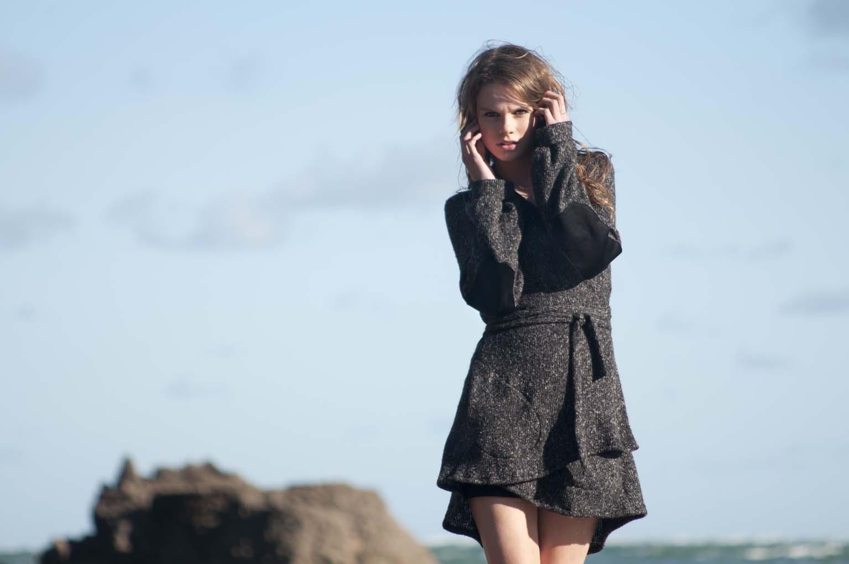 Clare from Nova model Agency, Auckland, NZ, wearing Selector clothing. Fashion photoshoot in Whatipu beach, Waitekere range