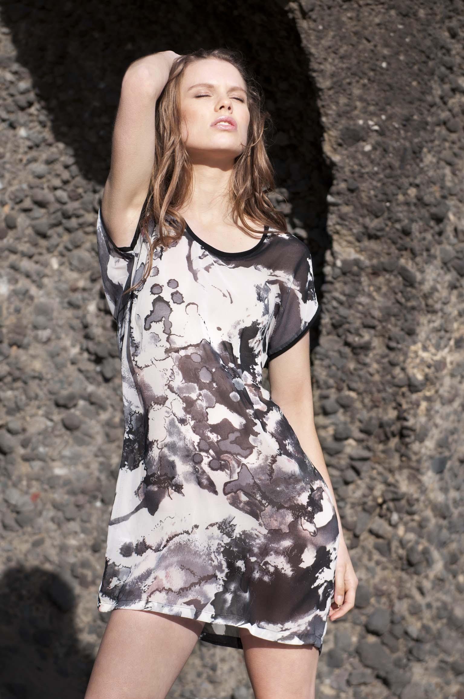 Clare from Nova model Agency, Auckland, NZ, wearing Ribbon on a Bombshell clothing. Fashion photoshoot in Whatipu beach, Waitekere range