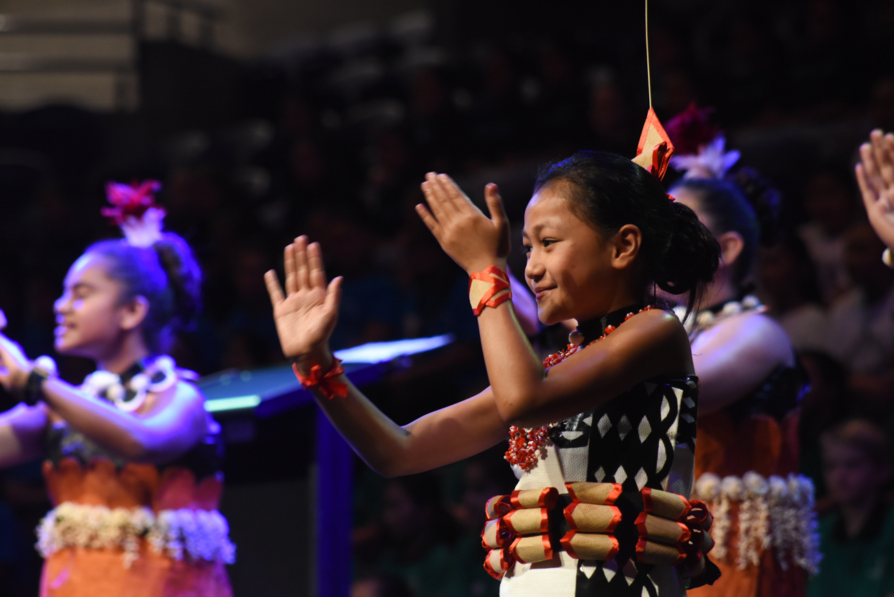 A young girl dancing proudly her traditional dance at the Vodafone Event Centre