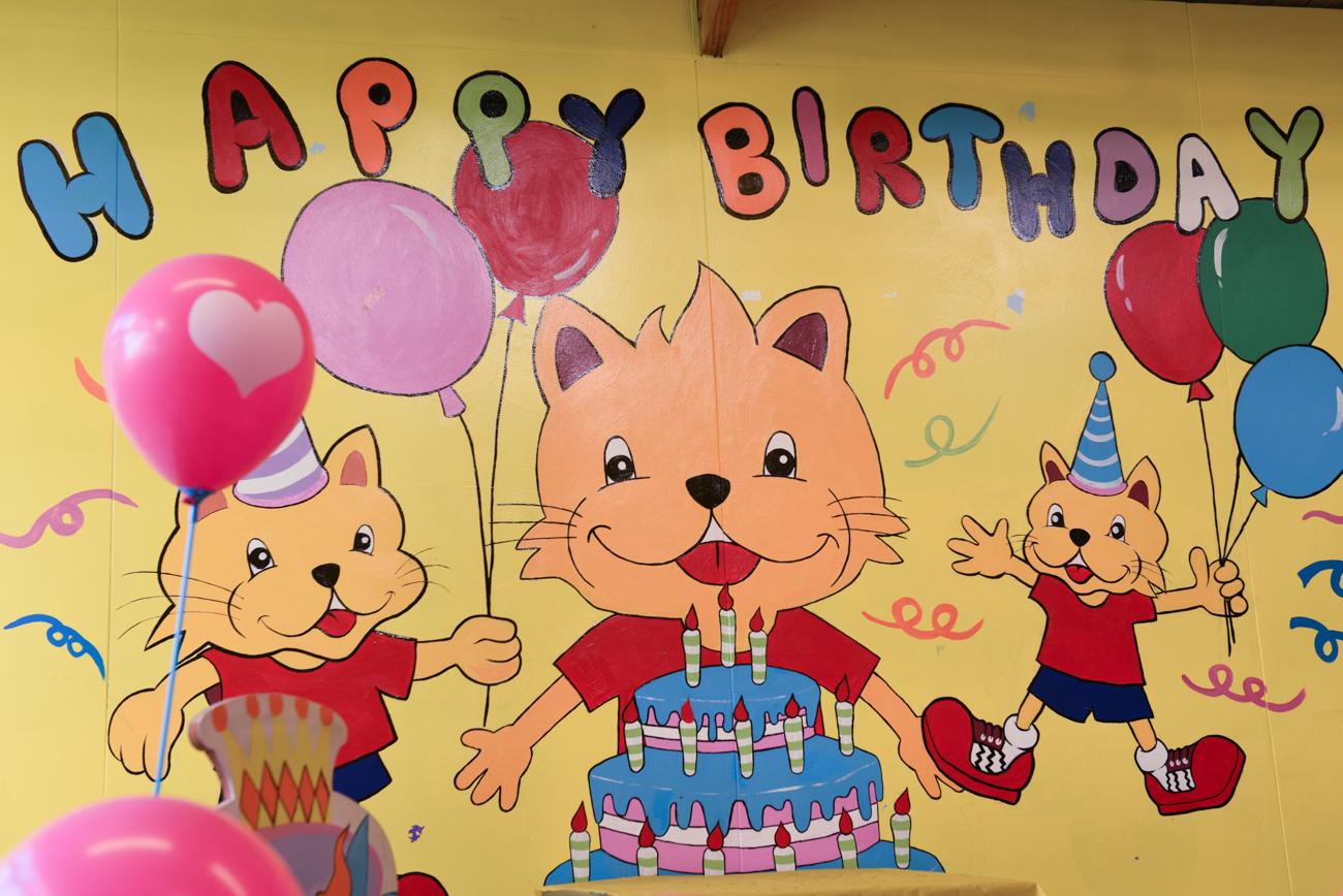 Happy birthday wall at Lolipop's playground in Ellerslie