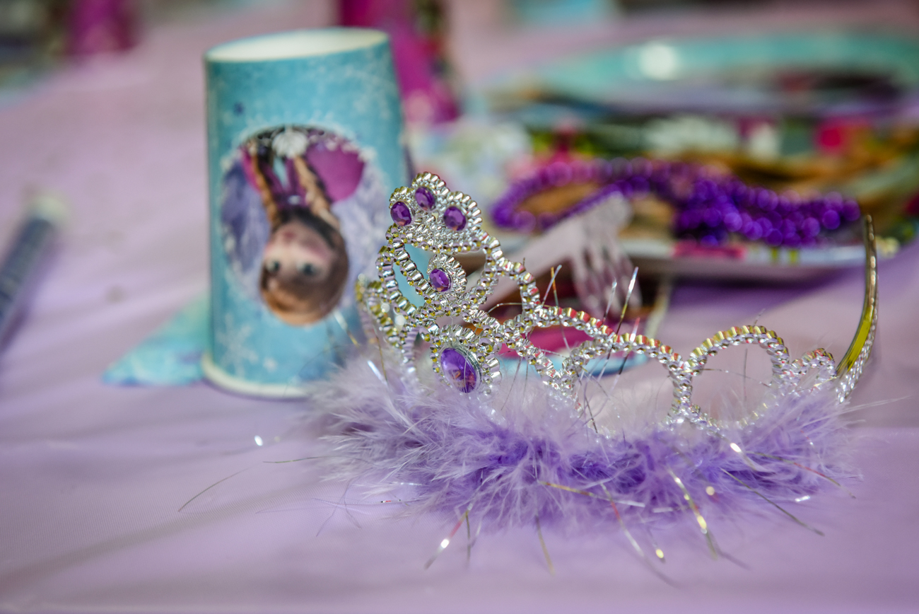 Birthday decoration : princess crown and cups with frozen cartoon