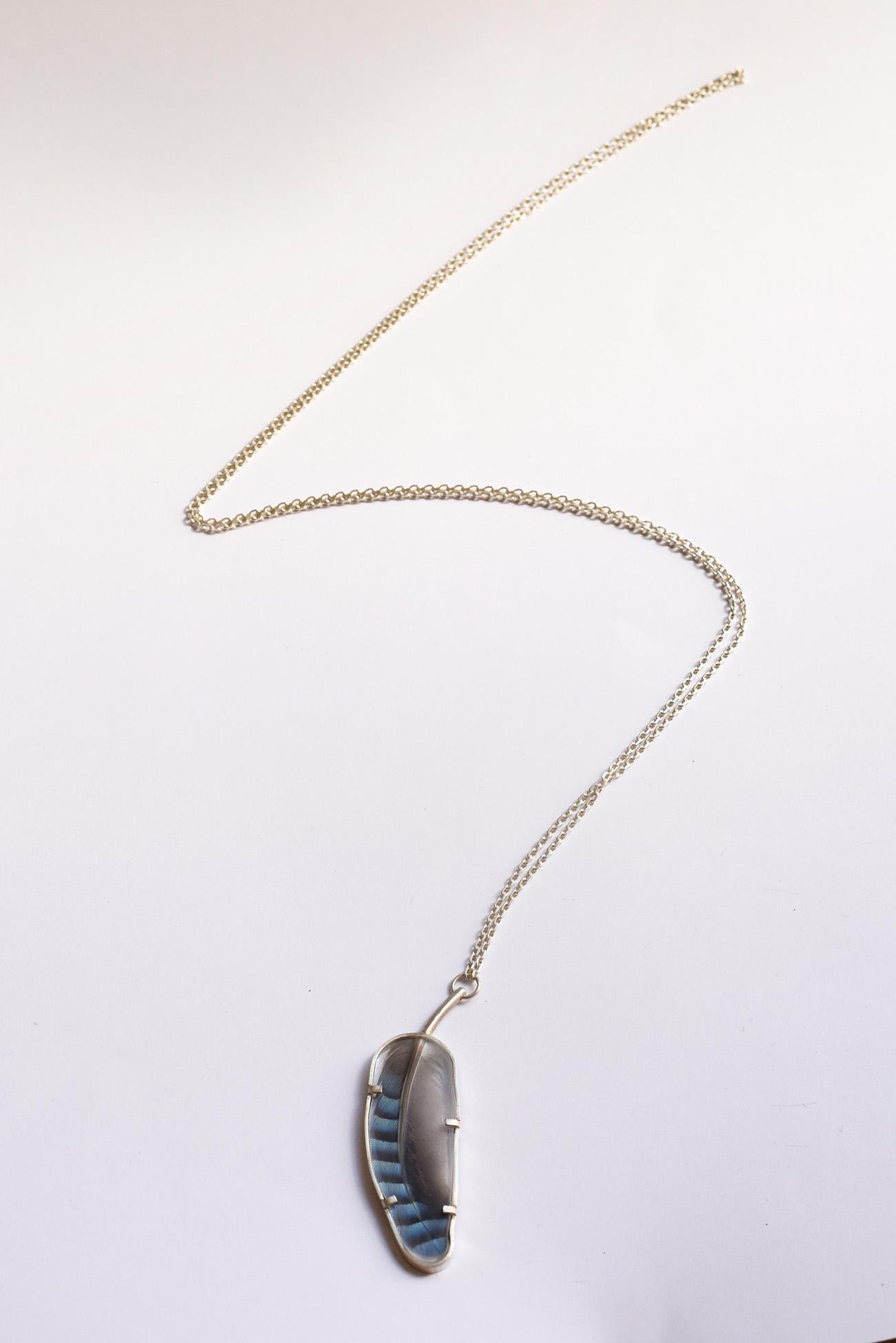 Nicolas' signs, plexiglass, jaybird feather and silver pendant