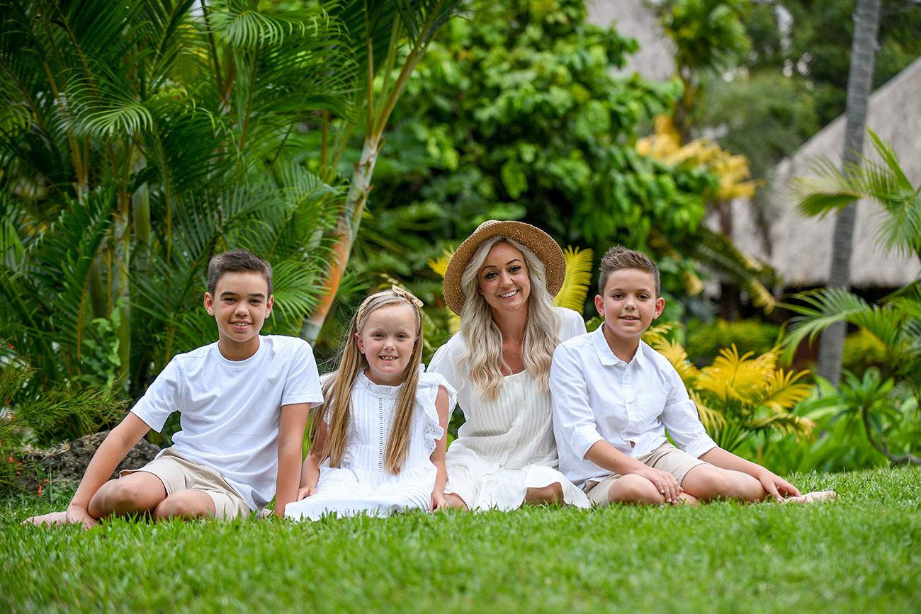Family portrait with greenery background
