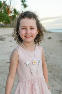 portrait of a girl at the beach of the Shangri a