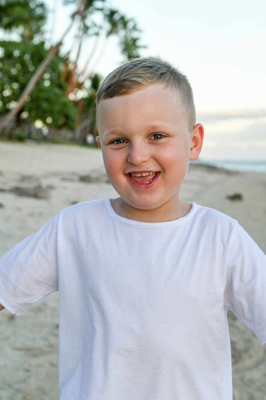Portrait of a young boy at the beach in Fiji